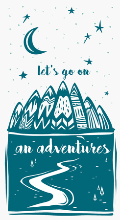 Mountains and  Lets Go on an Adventures inspirational lettering Banque d'images - 115317628