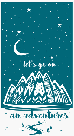 Mountains and  Lets Go on an Adventures inspirational lettering Banque d'images - 115317631