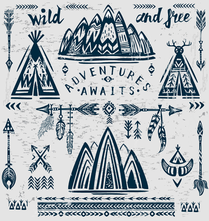 Set of vector on the theme of travel and adventure. Banque d'images - 123392627