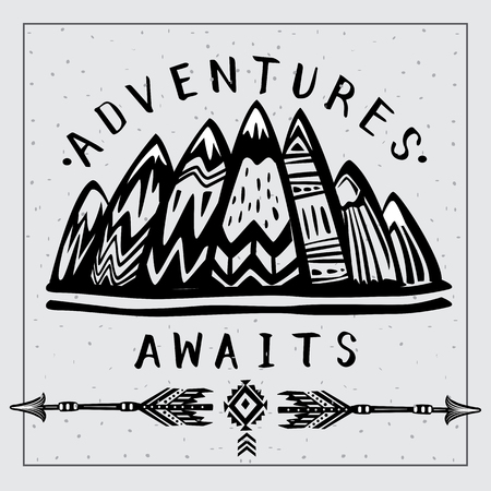 Mountains and  Lets Go on an Adventures inspirational lettering Banque d'images - 123392638