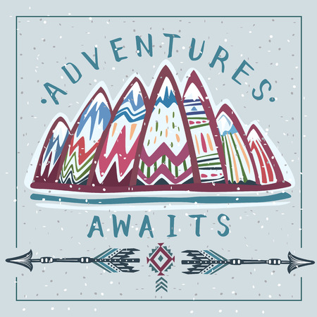 Mountains and  Lets Go on an Adventures inspirational lettering Banque d'images - 123392642