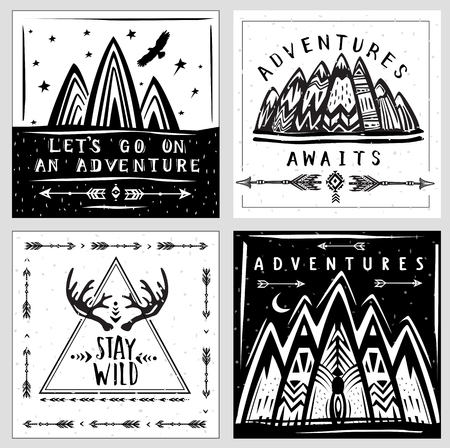 Collection of card templates on the theme of travel and adventure Banque d'images - 123392649