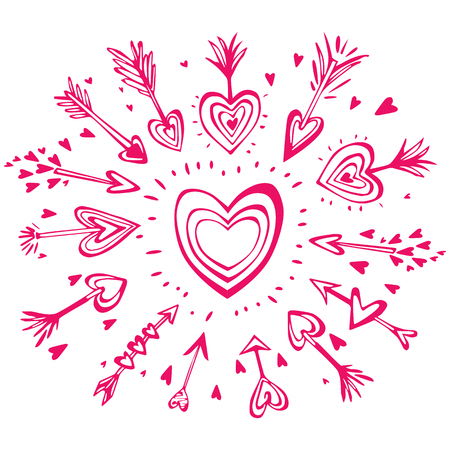 Doodle hand drawn arrows with hearts, design elements for Valentines day Banque d'images - 123392688