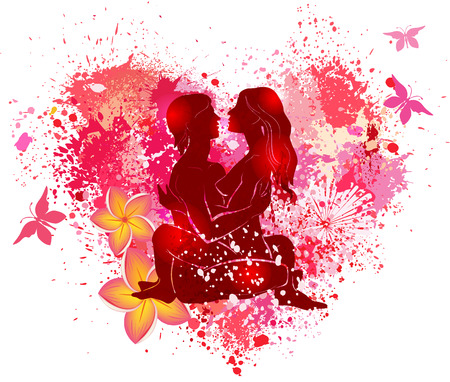 Couple practicing tantra yoga on the on the grunge background of the shape of a heart Ilustración de vector