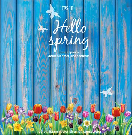 Arrangement with multicolor spring flowers