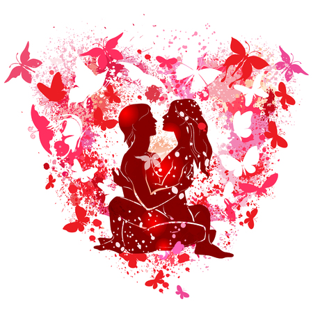 Couple on the on the background of the shape of a heart with butterflies Banque d'images - 123392703