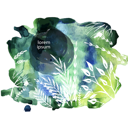 Botanic card with sketches plants on Watercolor background. Spring concept. Decoration elements for posters, design invitation, wedding and greeting Banque d'images - 124976535