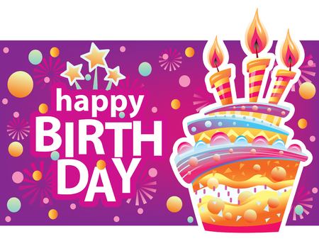 Card with birthday cake and candles. Birthday Party Elements Banque d'images - 124790367