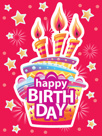 Card with birthday cake and candles. Birthday Party Elements Banque d'images - 124780352