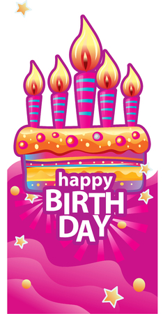 Card with birthday cake and candles. Birthday Party Elements Banque d'images - 123421665
