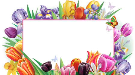 Template for banner with multicolor spring flowers Banque d'images - 118159197