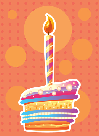 Card with birthday cake and candles. Birthday Party Elements Banque d'images - 124739023