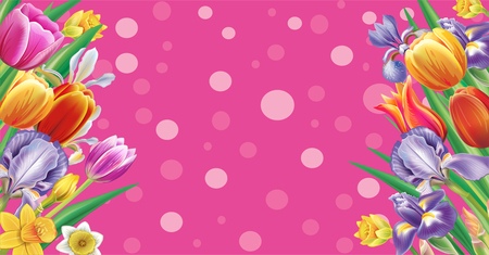 Template for banner from arrangement with multicolor spring flowers