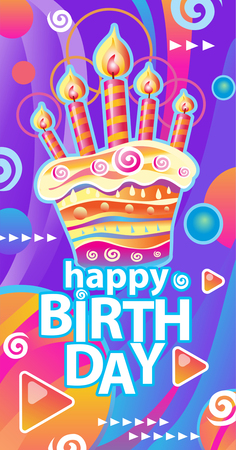 Banner with birthday cake and candles Banque d'images - 123421667