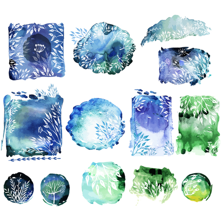 Set of elements for cards with sketches plants on Watercolor background Banque d'images - 123421671
