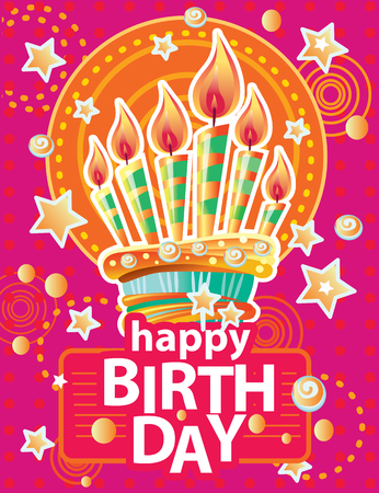 Template for card with birthday cake and candles on Colorful background. Birthday Party Elements Banque d'images - 124576358