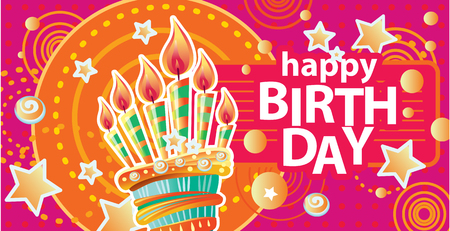 Template for card with birthday cake and candles on Colorful background. Birthday Party Elements