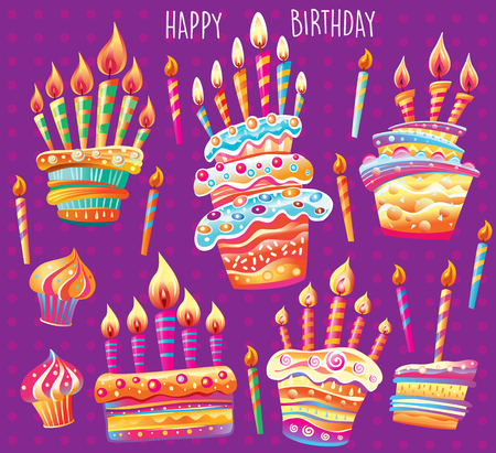 Set of birthday cake and candles. Birthday Party Elements Banque d'images - 123421593