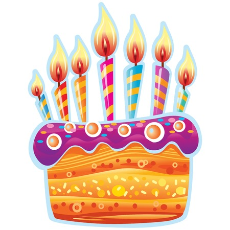 Colorful birthday cake with candles. Birthday Party Elements Banque d'images - 124297414
