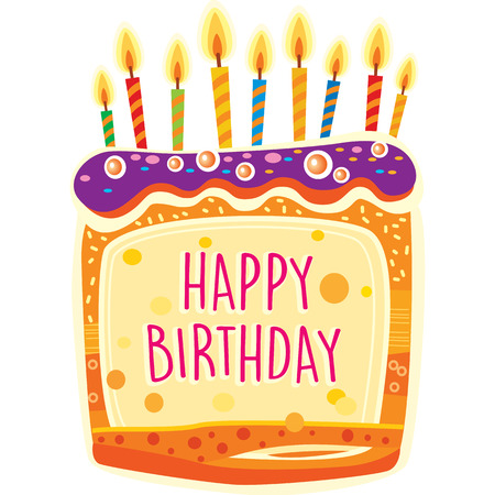 Card with birthday cake and candles. Birthday Party Elements Banque d'images - 123421595