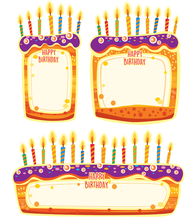 Banners in shape of birthday cakes Banque d'images - 123421596