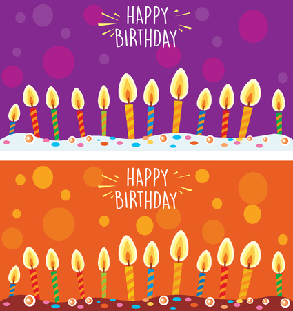 Card with birthday cake and candles Banque d'images - 123421598