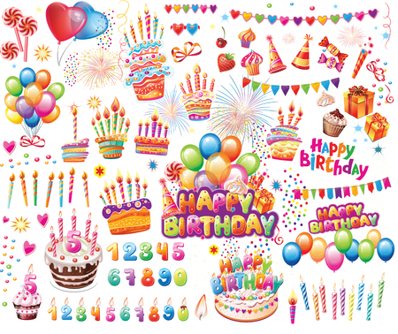 Set of Elements for Birthday Party Decoration for Posters, Design Invitation Greeting Cards, Banners Banque d'images - 124223326