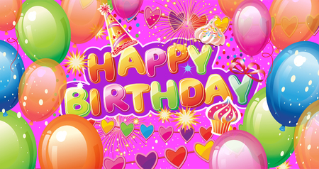 Banner with Birthday Party Elements on Colorful background Banque d'images - 124223327