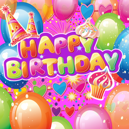 Card with Birthday Party Elements on Colorful background Banque d'images - 124198508