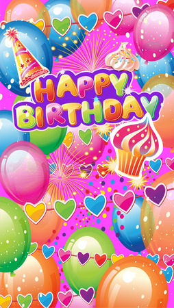 Card with Birthday Party Elements on Colorful background