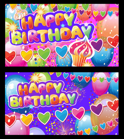 Set Cards with Birthday Party Elements on Colorful background