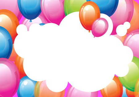 Happiness Birth day backdrop with multicolor air balloons. Design elements for greeting cards, postcard, invitation, flyer, poster sign, banner Banque d'images - 123971559