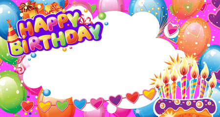 Template for Birthday card with place for text Banque d'images - 123421601