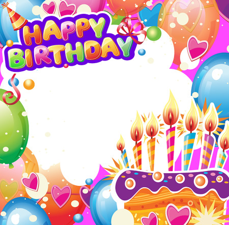 Template for Birthday card with place for text Banque d'images - 123421602