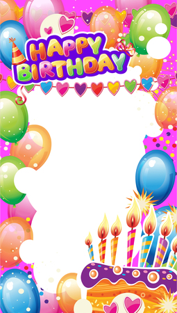 Template for Birthday card with place for text Banque d'images - 123421603
