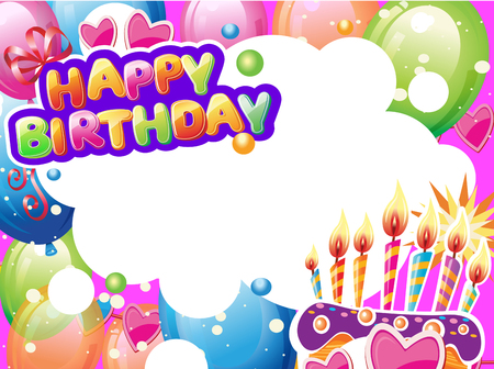 Template for Birthday card with place for text Banque d'images - 123421604