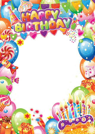 Birthday card with place for text. Design elements for card, flyer, poster sign banner web postcard, invitation, decoration Banque d'images - 123421605