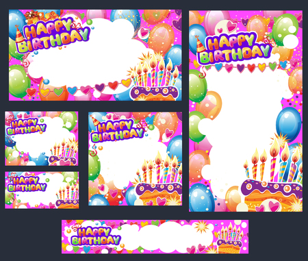 Set of Birthday cards and banners with place for text Banque d'images - 123697310