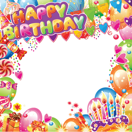 Birthday card with place for text. Design elements for card, flyer, poster sign banner Banque d'images - 123421606