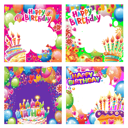 Set of Birthday cards and banners with place for text Banque d'images - 120691667