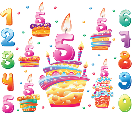 Set of Happy birthday cakes and numbers for each year. Birthday Party Elements Banque d'images - 123604174