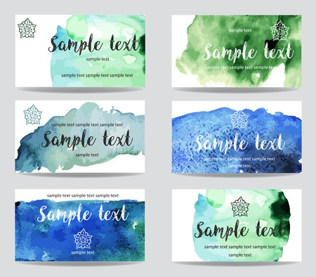 Set of cards with watercolor paint abstract background Banque d'images - 123540951