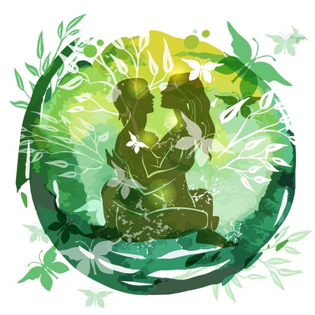 Couple Practicing Tantra Yoga Green Watercolor background nahata Banque d'images - 123421610