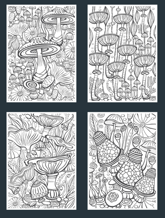 Set of Mushrooms Coloring antistress book page Vector illustration Illustration