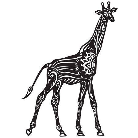 Vector Black and White Decorated stylized Giraffe Vector Illustratie