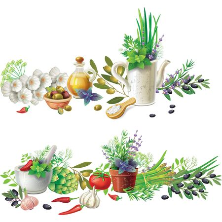Banners with aromatic herbs in pots and vegetables. Rustic design Illustration