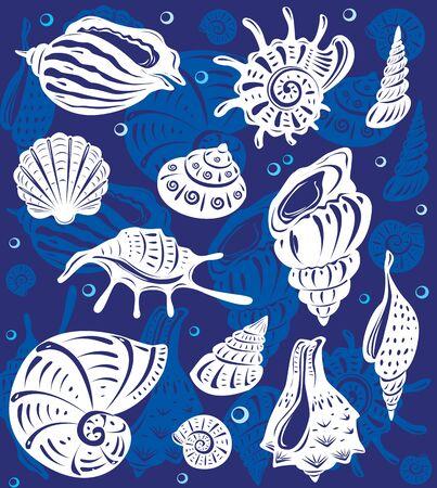 Set of decorative shells on blue background Vektorové ilustrace