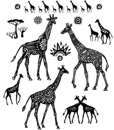Set of Decorated stylized Giraffes in Ethnic style