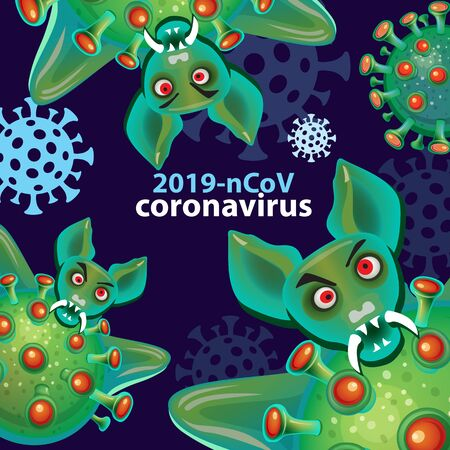 Abstract symbol of Coronavirus with angry bats