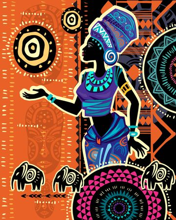 African woman in ethnic dress on Ethnic geometric background Vettoriali